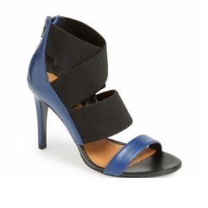 Halogen Katy Cobalt Blue Leather Sandal Heels